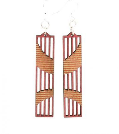 cherry red wright angle wood earrings