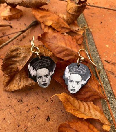 Lifestyle photo - Bride of Frankenstein wood earrings