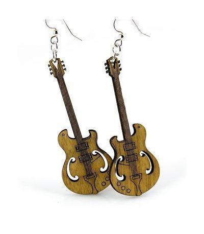 Cinnamon Electric Guitar Wood Earrings