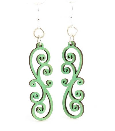 Emerald scrolly vine wood blossom earrings