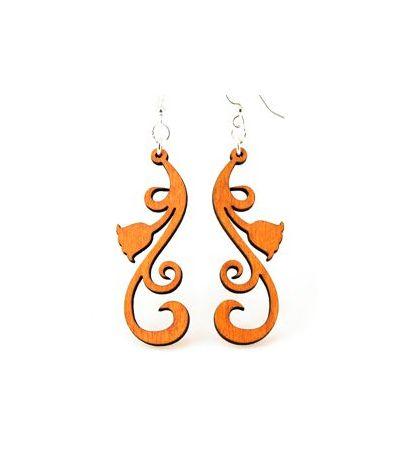 Tangerine tulip scroll wood earrings