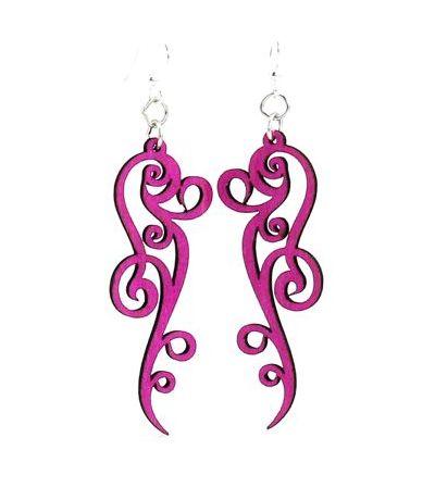 Pink Ornate Scroll Design Wood Earrings