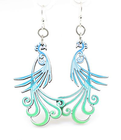 flowing peacock wood earrings
