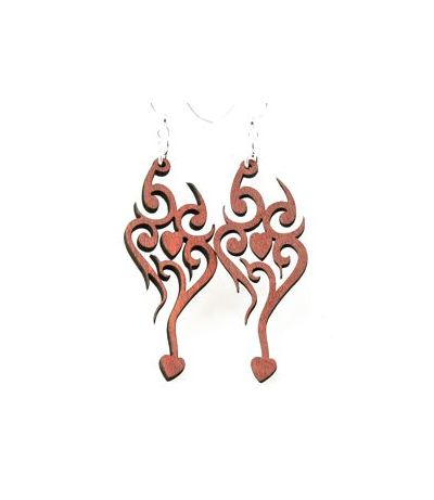 tangerine heart tattoo wood earrings