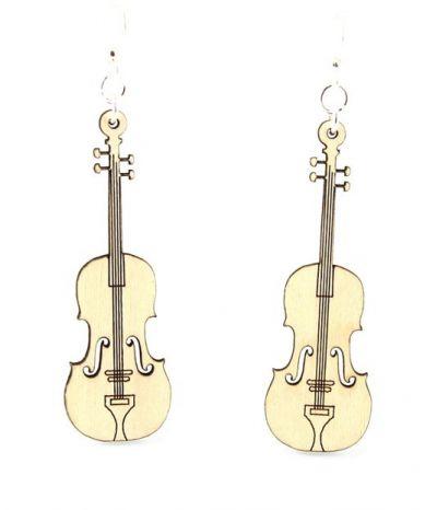 Natural wood violin earring