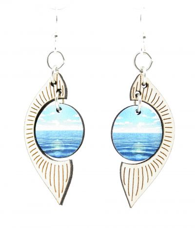 ocean pearl wood earrings