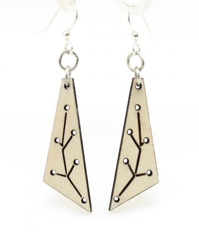 natural wood new growth triangle wood earrings