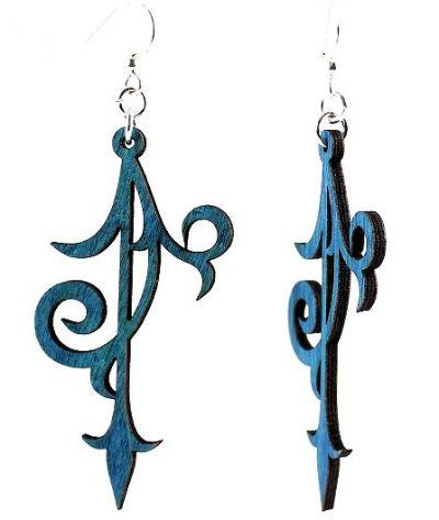 Royal blue scroll ornament wood earrings