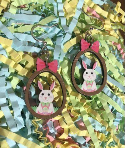 Easter bunny wood earrings