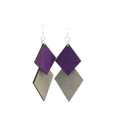 diamond cut wood earrings