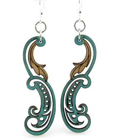 teal paisley leaf wood earrings