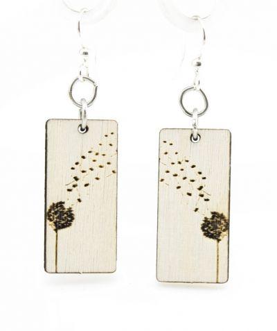 dandy lion blossom wood earrings