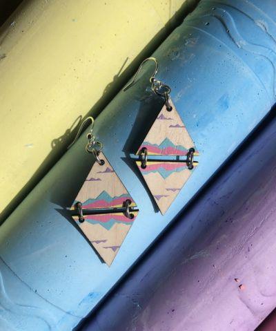 mirrored landscape blossom wood earrings