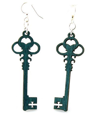 Teal skeleton key earrings
