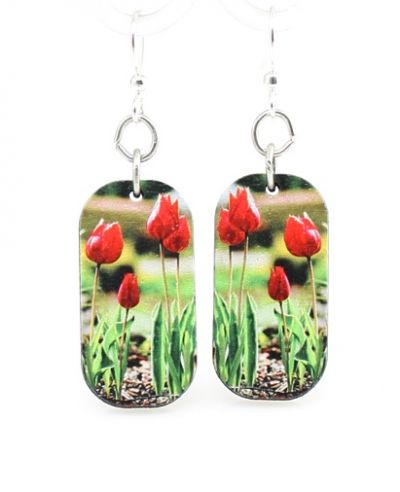 tulip blossom wood earrings