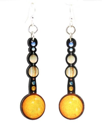 solar system wood earrings