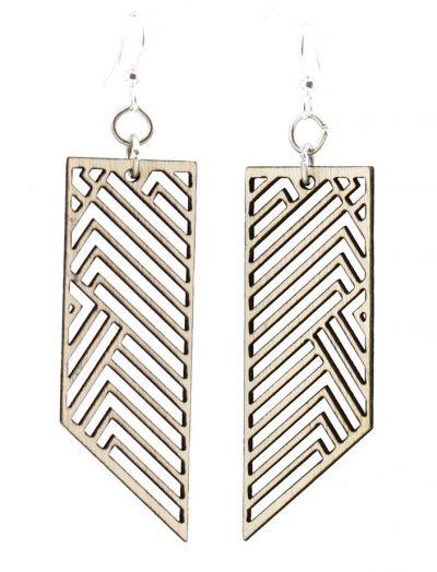 rectangular rhapsody wood earrings natural wood