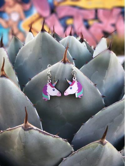 Lifestyle photo - Unicorn Wood Earrings