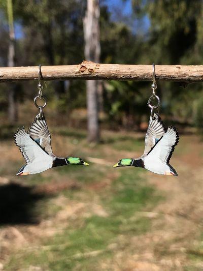 mallard duck wood earrings