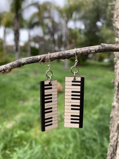 piano key wood earrings