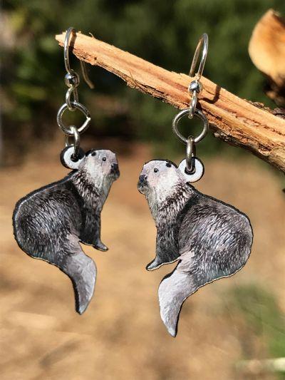 River otter wood earrings