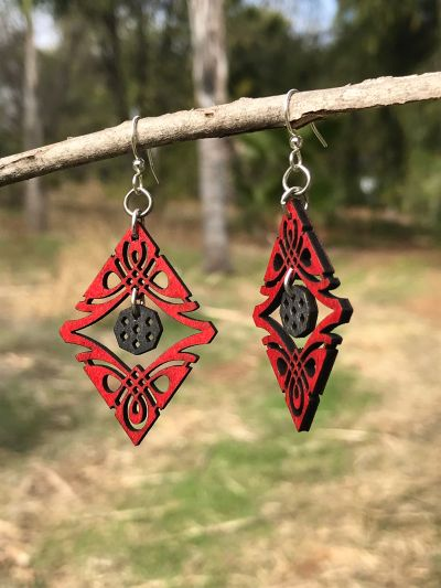 Earrings shown in color cherry red and black satin