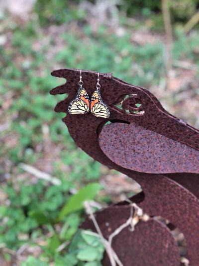 monarch butterfly wood earrings