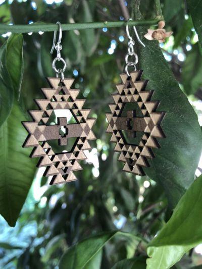 Brown navajo wood earrings