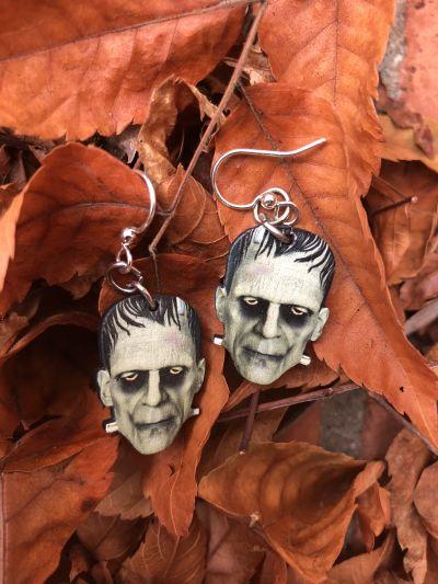 frankenstein wood earrings