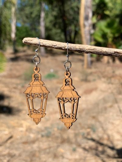 tan lantern wood earrings