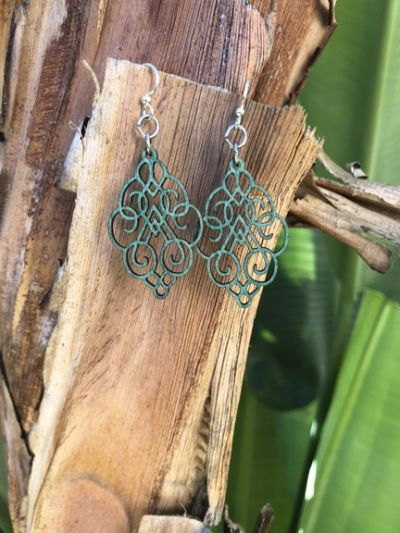 teal arabesque scroll wood earrings