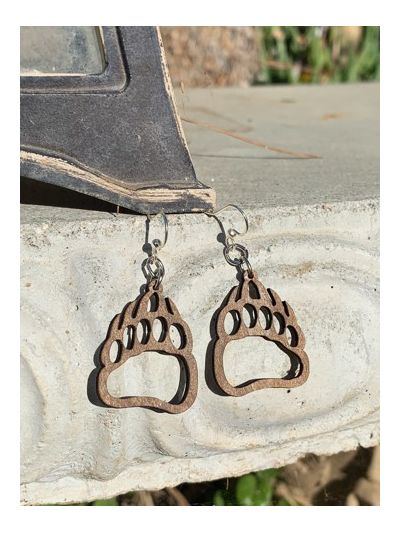 Brown bear paw earrings
