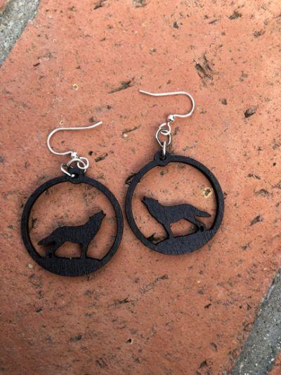howling wolf wood earrings