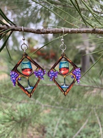 heart in wine wood earrings