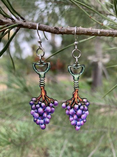 corkscrew grape vine wood earrings