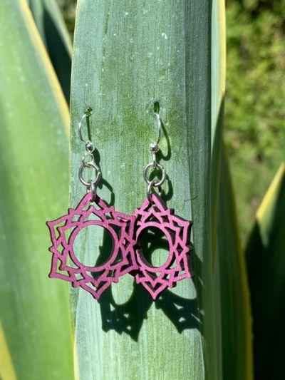 purple sahasrara wood earrings
