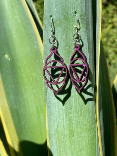 purple ajna chakra wood earrings