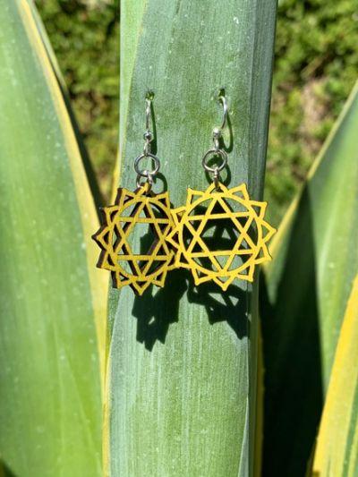 anahata chakra wood earrings
