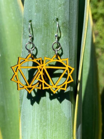 manipura chakra wood earrings
