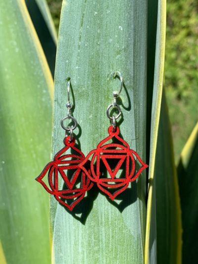 cherry red muladhara chakra earrings
