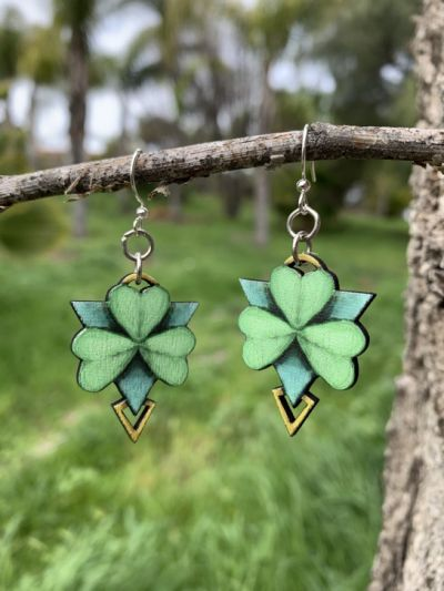 geometric shamrock wood earrings
