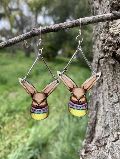Easter bunny egg wood earrings