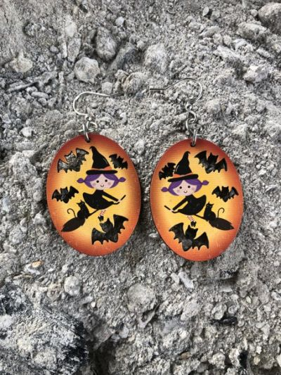 flying witch wood earrings