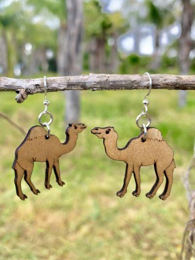camel wood earrings