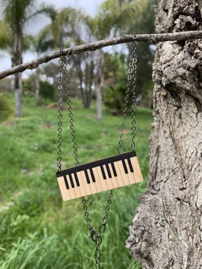piano wood necklace