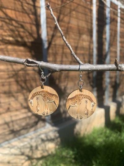 giraffe bamboo earrings