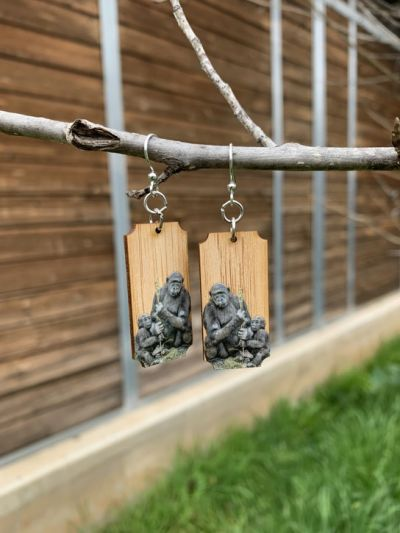 gorilla bamboo earrings