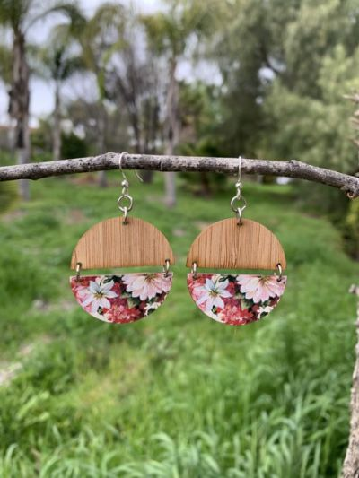 floral half circle bamboo earrings