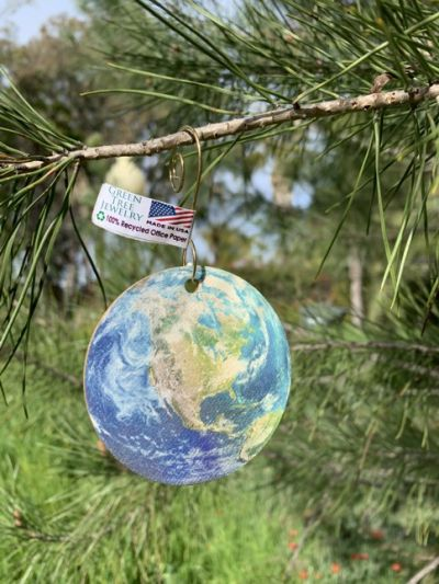 100% recycled office paper mapped earth ornament