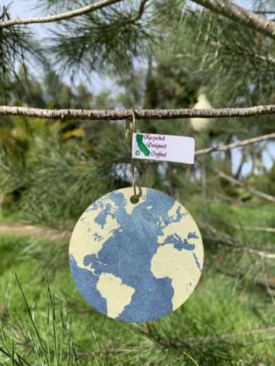 100% recycled office paper retro earth ornament